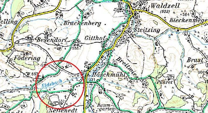 Karte Rückhaltebecken Eidsbach