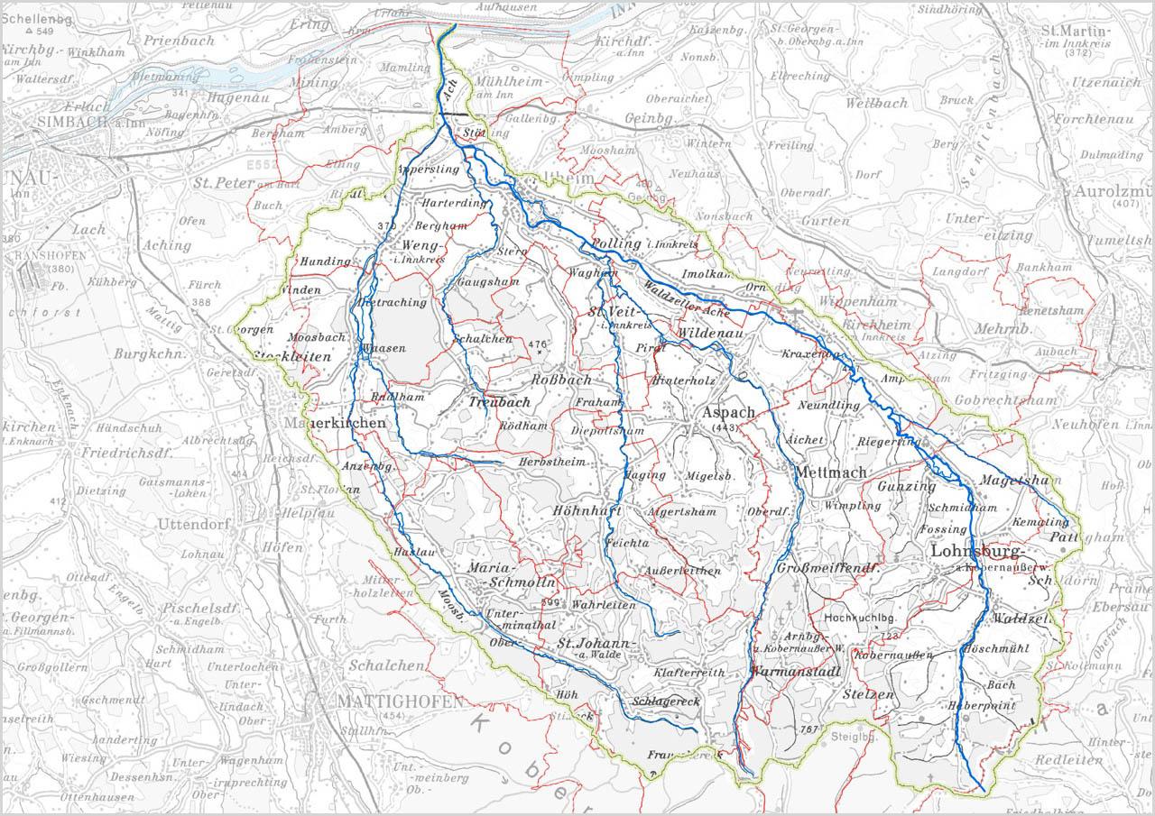 Wasserverband Ache - Geografische Lage - Übersichtskarte