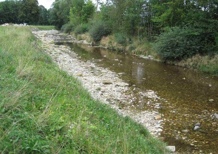 Rechtsufrige Aufweitung am Projektsanfang in der Restwasserstrecke (Blickrichtung flussauf)